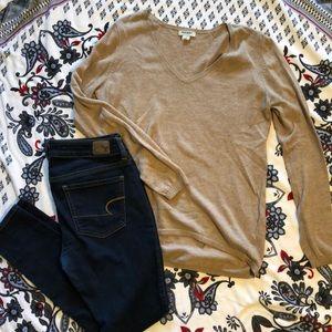 Old Navy, tan, long sleeve shirt
